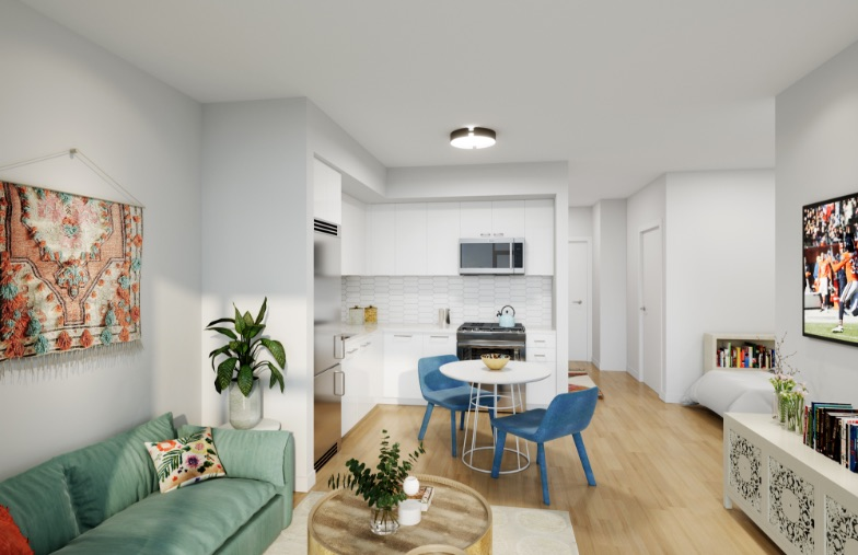 Kitchen and Living Room at Porte Apartments